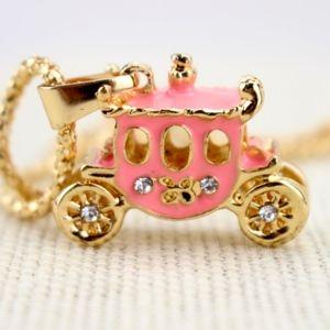 Jewelry - Pink Enamel Rhinestone Fairy Tale Carriage Pendant